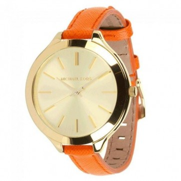Michael Kors Thin Runway Ladies Watch Gold Dial Orange Strap MK2275