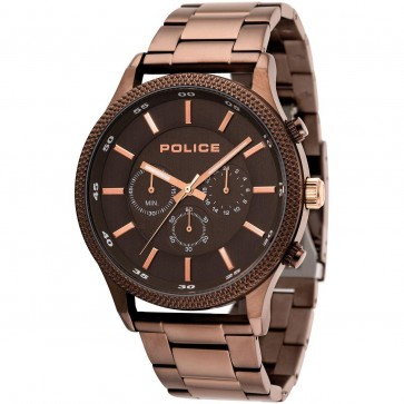 Police Mens Gents Rush Chronograph Wrist Watch Rose Strap15002JSBN/13M