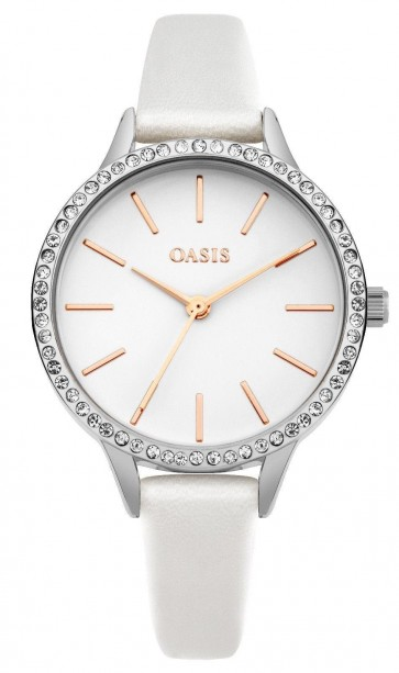 Oasis Womens Ladies Watch White Strap White Dial B1558