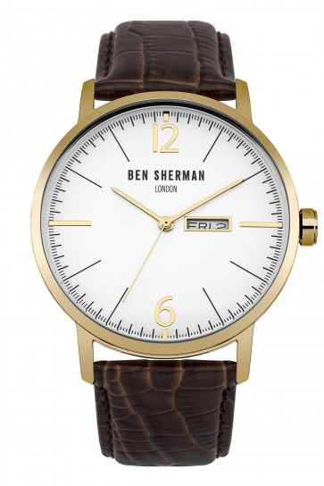 Ben Sherman Mens Gents Watch Brown Strap White Face WB046TG