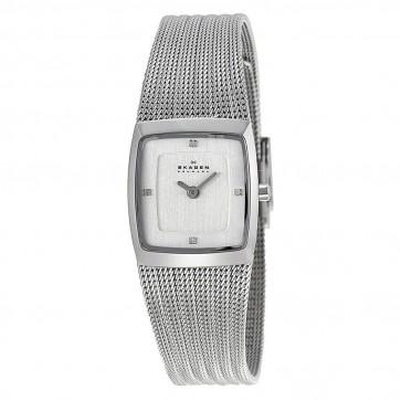 Skagen Ladies Quartz White Dial Stainless Steel Mesh Watch 380XSSS1