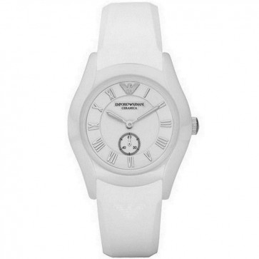 Emporio Armani Womens Ladies Ceramic Watch Silicone Strap White Dial AR1433