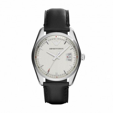 Emporio Armani Mens Watch Black Leather Strap Silver Dial AR6015