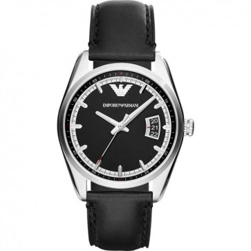 Emporio Armani Mens Watch Black Leather Strap Black Dial AR6014
