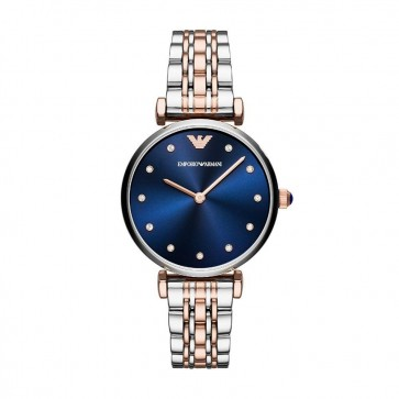 Emporio Armani Ladies Watch Silver Rose Stainless Steel Strap Blue Dial AR11092
