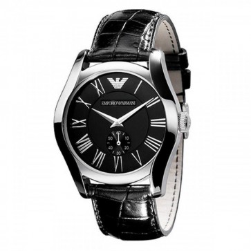 Emporio Armani Ladies Watch Black Leather Strap Black Dial AR0644