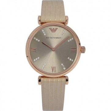 Emporio Armani Ladies Watch Gold PVD Case Cream Leather Strap Silver Dial AR1681