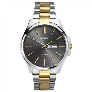 Sekonda Mens Gents Wrist Watch Grey Face Black Leather Strap 1441