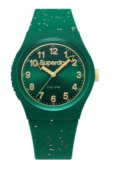 SUPERDRY URBAN Unisex Green Glitter Silicone Strap Watch SYL167N