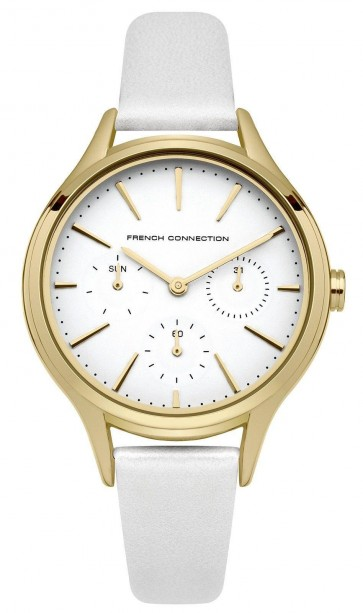 French Connection Womens Watch  Gold Dial White Face Leather Strap FC1273WG
