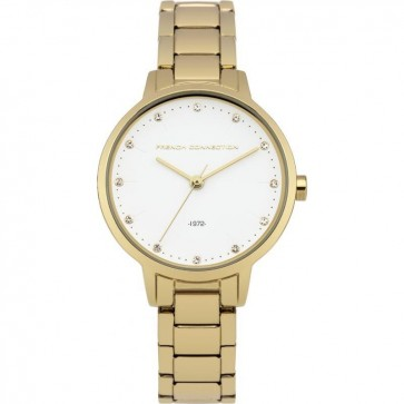 French Connection Womens Ladies Wrist Watch Gold Strap White Face FC1281GM