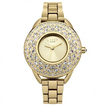 Lipsy Womens Ladies Quartz Wrist Watch Gold Dial Analogue Gold Strap LP443