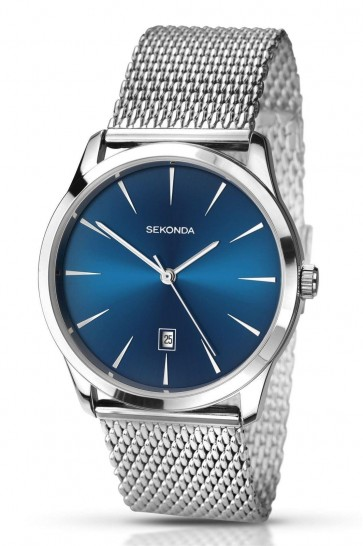 Sekonda Mens Gents Wrist Watch Blue Dial Stainless Steel Bracelet SK1065