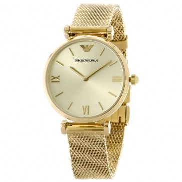 Emporio Armani Ladies Watch Gold Mesh Strap Strap Gold Dial AR1957