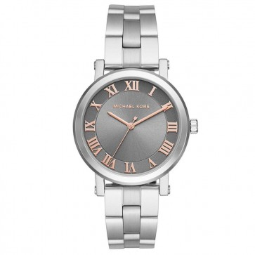 Michael Kors Ladies Norie Watch Silver PVD Stasinless Steel Strap Grey Face MK3559