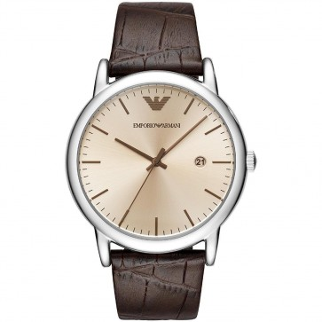 Emporio Armani Mens Gents Wrist Watch Brown Leather Strap Bronze Dial  AR11096