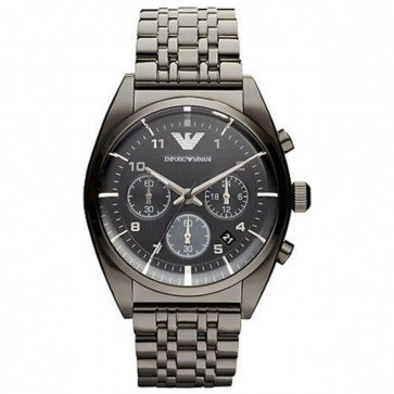 Emporio Armani Mens Chronograph Watch Black Dial Grey Bracelet AR0374