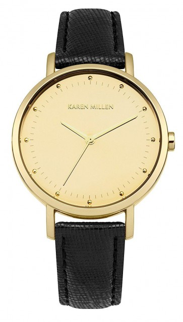 Karen Millen Womens Quartz Watch Gold Dial Black Leather Strap KM139BG