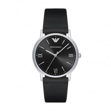 Emporio Armani Mens Gents Watch Black Leather Strap Black Dial AR11013
