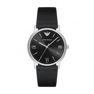Emporio Armani Mens Gents Watch Black Leather Strap Black Dial AR11013