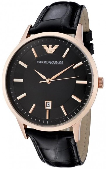 Emporio Armani Mens Watch Rose Gold Black Leather Strap Black Dial AR2425