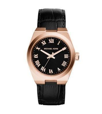 Michael Kors Channing Ladies Watch Black Dial Rose Gold  MK2358
