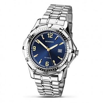 Sekonda Mens Gents Wrist Watch Blue Face Silver Strap Dial 1159