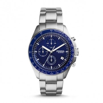 Fossil Mens Sport 54 Chronograph Watch Stainless Steel Strap Blue Dial CH3030