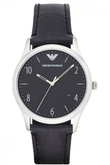 Emporio Armani Mens Watch Black Leather Strap Black Dial AR1865