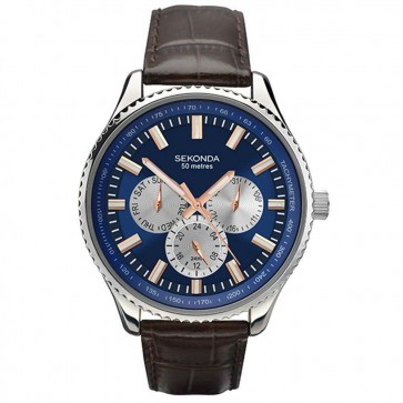 Sekonda Mens Gents Wrist Watch Blue Face Silver Dial 1189