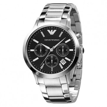Emporio Armani Mens Watch Silver Stainless Steel Black Dial AR2435