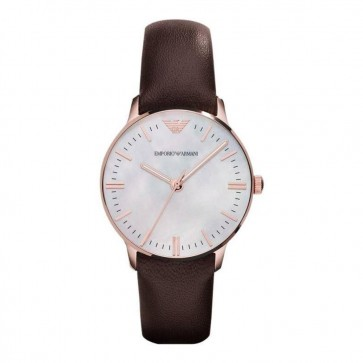 Emporio Armani Ladies Watch Brown Leather Strap White Dial  AR1601