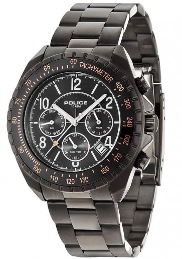 Police Navy V Men's Watch with Black Dial Chronograph Display & Grey Bracelet