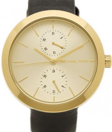 Michael Kors Thin Runway Ladies Watch Gold Dial Dark Pink Strap MK2298