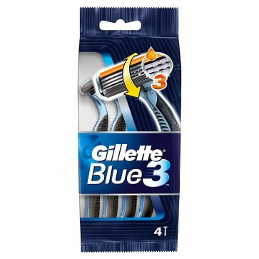 GILLETTE BLUE 3 DISPOSABLE RAZORS 4'S SENSITIVE CARE