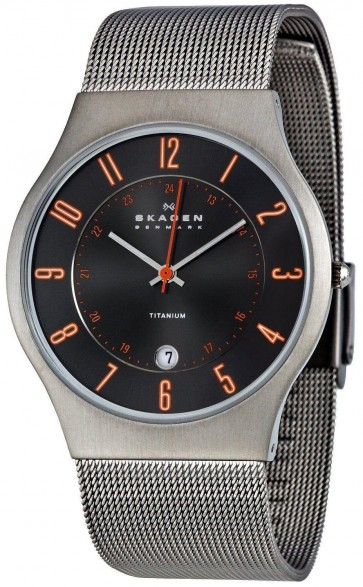 Skagen Men's Quartz Grey Titanium Case Stainless Steel Mesh Watch 233XLTTMO