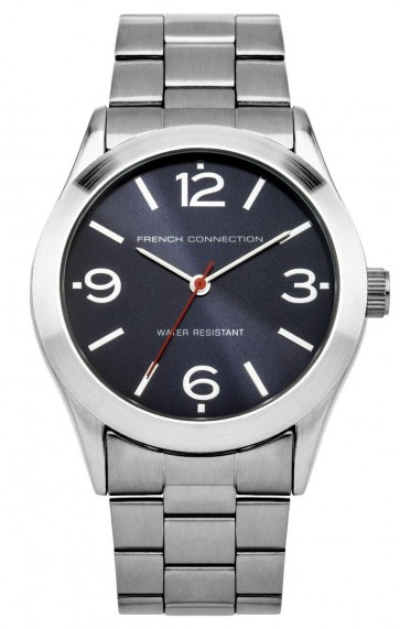 French Connection Mens Gents Wrist Watch Silver Strap Blue Dial SFC103UM