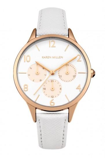 Karen Millen Womens Wrist Watch White Face Gold Dial KM155WRG