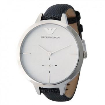Emporio Armani Ladies Watch Black Leather Strap White Dial AR7304
