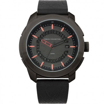 French Connection MensWatch Black Dial and Black Leather Strap FC1189RB