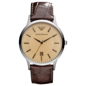 Emporio Armani Mens Watch Brown Leather Strap Salmon Dial AR2427