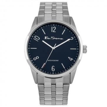 Ben Sherman Mens Wrist Watch Silver Strap Black face BS161