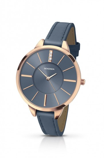 Sekonda Womens Ladies Wrist Watch Blue Leather Strap Blue Face 2248