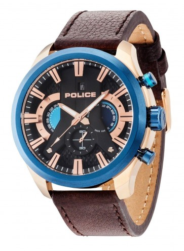 Police Cyclone Chronograph Mens Gents Watch Brown Leather Strap 14639JSRBL/02