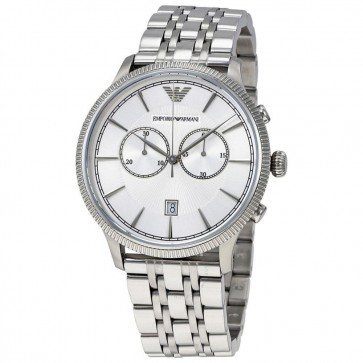 Emporio Armani Mens Gents Watch Silver Stainless Steel Strap Silver Dial AR1796