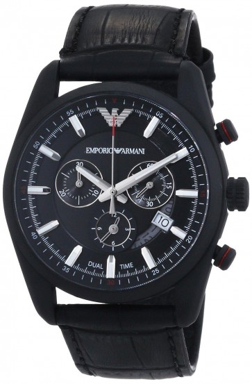 Emporio Armani Mens Chronograph Watch Black Leather Strap Black Dial AR6035
