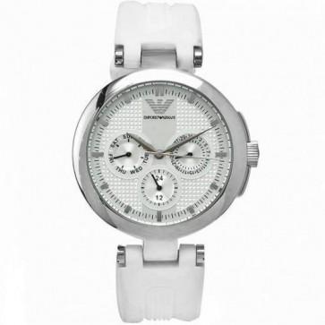 Emporio Armani Ladies Watch White Silicone Strap Silver Dial AR0736