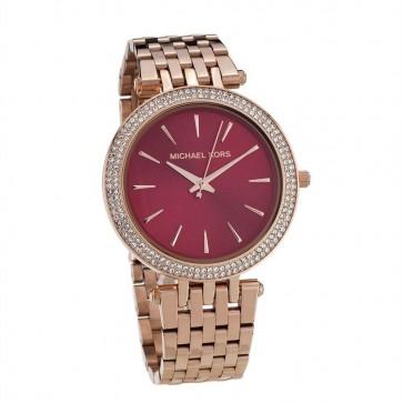 Michael Kors Darci Ladies Watch Rose Gold PVD Bracelet Red Dial MK3378