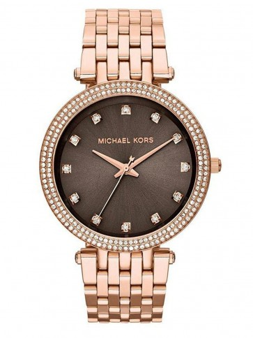 Michael Kors Ladies Darci Watch Brown Dial Rose Gold PVD Crystal Detail MK3217