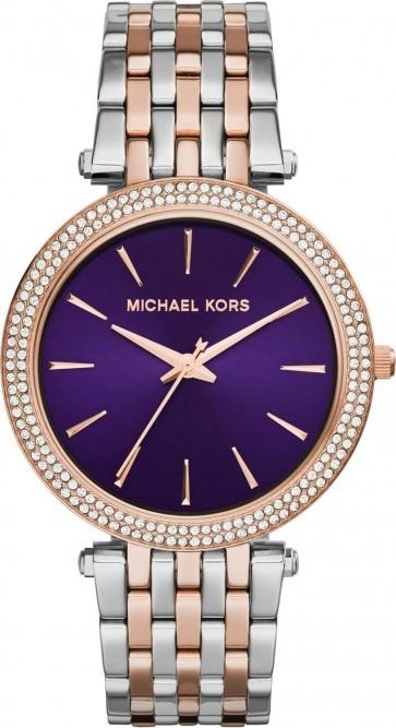 Michael Kors Darci Ladies Watch Two Tone Bracelet Purple Dial MK3353